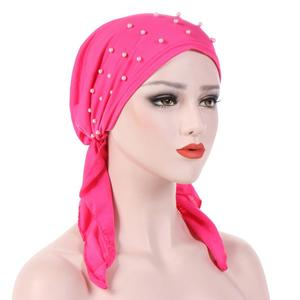 Image 3 - イスラム教徒の女性ヒジャーブアバヤがん化学及血帽子インナーキャップ真珠脱毛ヘッドスカーフターバンヘッドラップイスラムキャップロング尾バンダナ