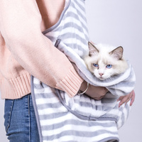 WHISM Anti stick Hair Apron Hug Pet Dog Cat Clothes Soft Coral Velvet Apron with Pocket for Cat carrying