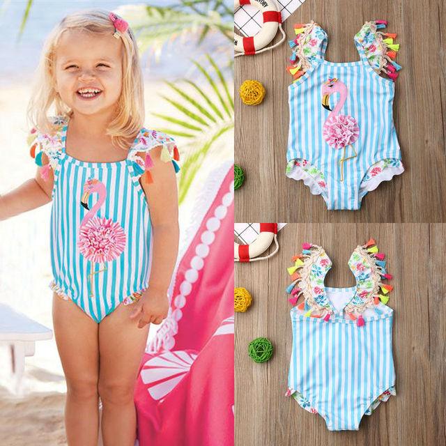 57f3dcc66e Cute Little Girls Flamingo Crochet One-piece Swimsuit Toddler Kids Baby  Girl Bikini Set Swimwear