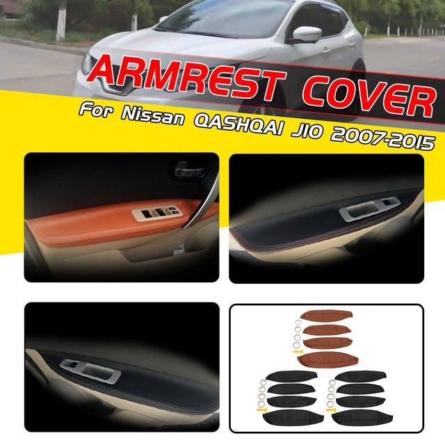 4pcs/set  For Nissan QASHQAI J10 2007-2015 Car Door Armrest PU Leather Covers Trim Interior Door Armrest Surface Trim Cover