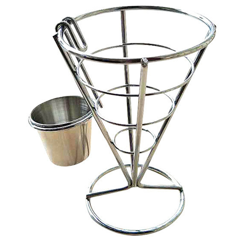 Cone Snack Fried Chicken Display Rack Fries Foods Stand Holder Fry Chips Cone Metal Wire Basket With Sauce Dippers 14.5 X 10cm Mild And Mellow Kitchen,dining & Bar