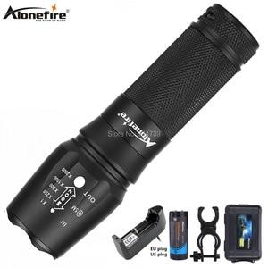 Alonefire x800 zoom cree XM-L2 t6 led lanterna, tática, defesa, bateria recarregável, luz noturna, 26650