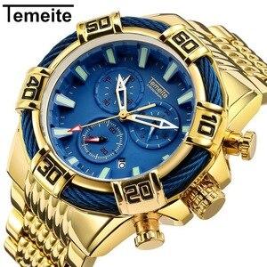 Топ бренд Temeite новые кварцевые аналоговые часы Роскошный большой циферблат золотые часы мужские многофункциональные военные часы мужские ...