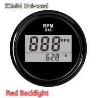 Universal 52mm RPM Meter Waterproof 0 9990RPM for Boat Car Truck Motorcycle LED Digital Tachometer Engine Hourmeter Marine