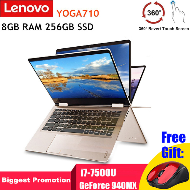 Lenovo YOGA710 Laptop 14'' Touch Screen Tablet Notebook i7-7500U Dual Core GeForce 940MX 8GB RAM 256GB SSD Windows 10 Bluetooth