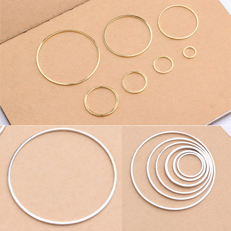 10PCS/Pack Round 8/12/15/20/25/30/38mm Silver Golden Circle Pendant Jewelry Accessories Findings Rings For DIY Making Earrings