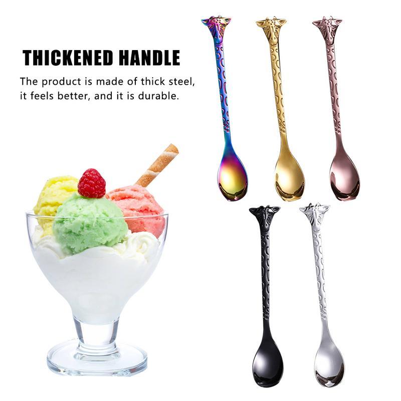 4pcs Stainless Steel Kids Spoon Cartoon Ice Cream Scoop Stirring Spoon Creative