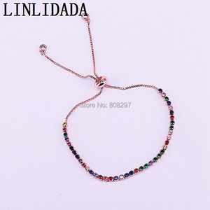 Image 2 - 20Pcs Charm Micro Pave Multi color Cz Zircon Adjustable Link Chain Bracelet For Jewelry Making