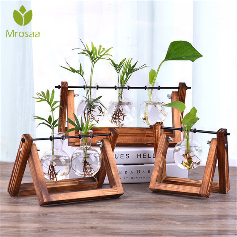 New Creative Wooden Stand Glass Terrarium Container Hydroponics