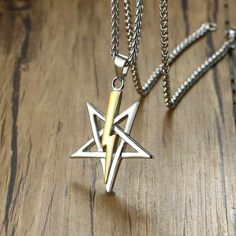 Vnox Vintage Mens Necklace with Church of Satan Sigil of Anton LaVey collar masculino Free Chain 24""