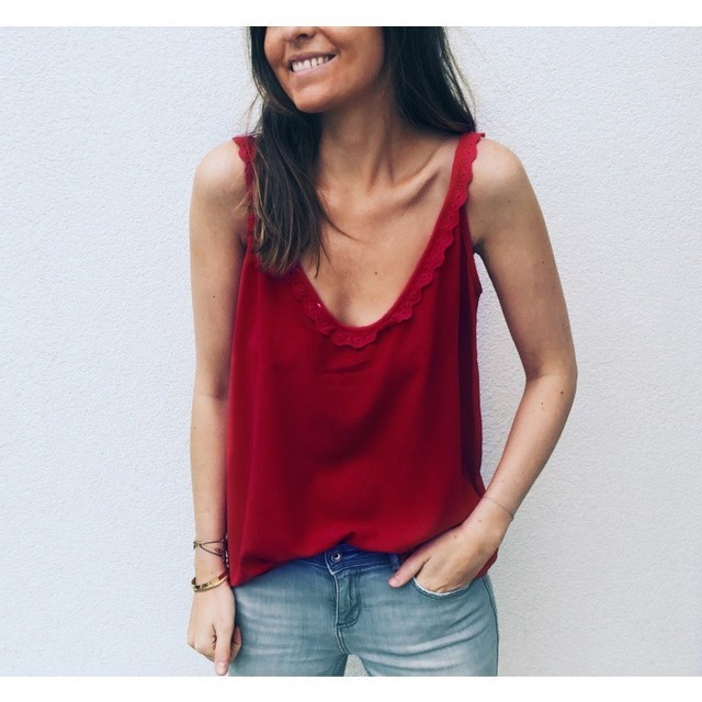 Gentillove Casual Loose Blouse Women 2019 Summer Sexy Sleeveless V Neck Lace Shirts Female Breathable Basic Vest Lady Tanks 3