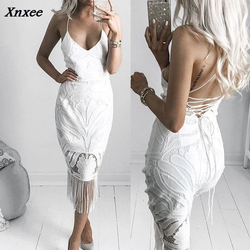 Fashion Elegant Sling Bandage Slim Women Dress Summer Sleeveless Solid Backless Tassle V Neck Sexy Vestidos Female Clothes Xnxee