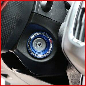 Un pequeño cambio de aluminio interruptor de encendido llavero cubierta círculo agujero llave pegatina para Ford Focus 2 3 4 MK2 Kuga Escape Mondeo