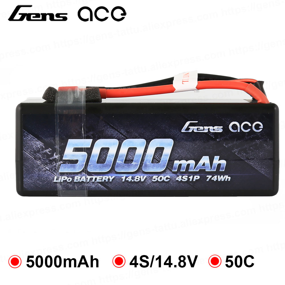 Gens ace Lipo Battery 14.8V 5000mAh Lipo 4S 50C RC Battery Pack Deans Plug for 1/8 1/10 Car RC Boat Top PerformanceGens ace Lipo Battery 14.8V 5000mAh Lipo 4S 50C RC Battery Pack Deans Plug for 1/8 1/10 Car RC Boat Top Performance