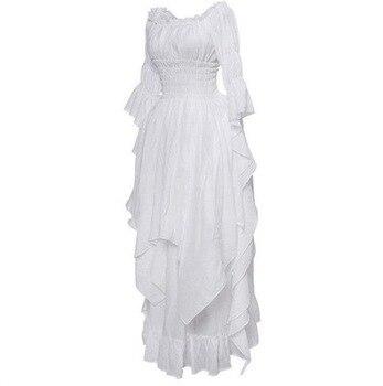 Fashion Loose Women Gothic Dress Female Princess Flare Sleeve Pullover Long Dress Elegant Off Shoulder Party Plus Size Dresses 4