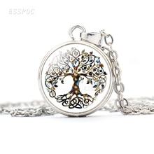 Tree Of Life Statement Necklace Glass Cabochon Pendant Taichi Eight-Diagram Sign Jewelry Women Choker Gifts