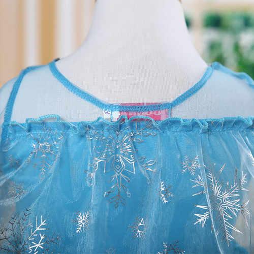 Blauwe Baby Meisjes Kids Kostuum Jurk Sneeuw Princess Queen Jurk Up Kinderen Party Gown Cosplay Tule Jurk 3-8Y