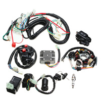 CARCHET 12V Motorcycle Moto Full Electrics Wiring Harness Coil CDI Relay Spark Kits for125 150 200 250 cc Push Rod Engine New