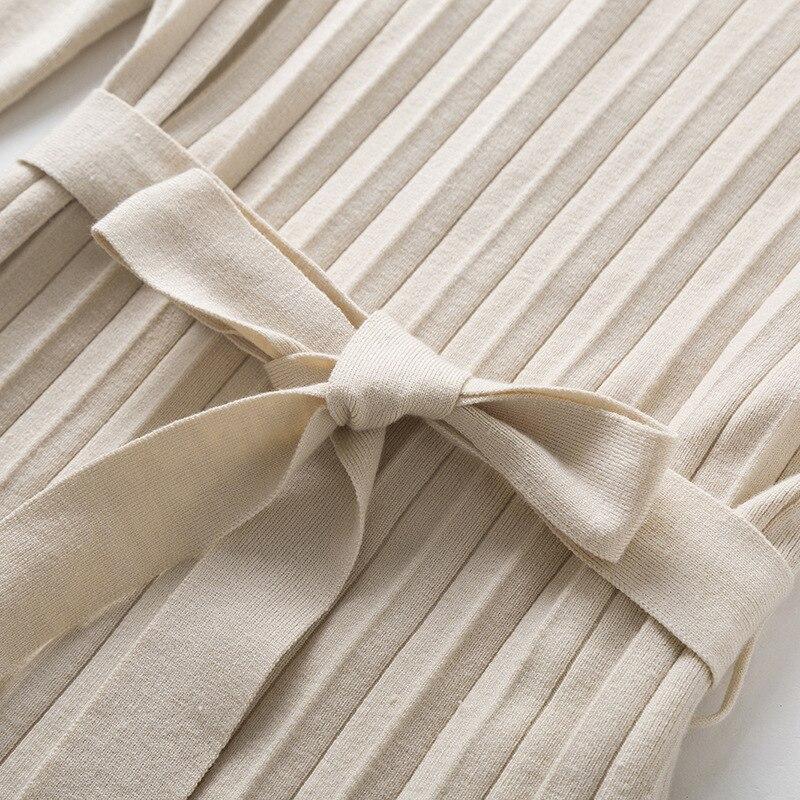 Makuluya chandail à manches longues en laine extensible pour femmes nouvelle Version coréenne robe tricotée plissée automne hiver printemps QW - 4