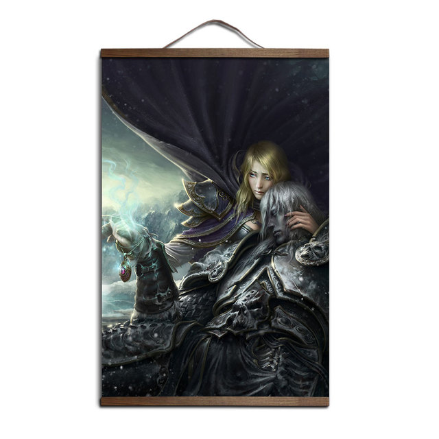 poster world of warcrafts Lich King Sylvanas Illidan canvas prints posters decoration painting with solid wood hanging scroll