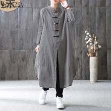 ZANZEA Women Plaid Long Maxi Dress Autumn Mandarin Long Sleeve Buttons Vestido Casual Kaftan Robe Ladies Dresses Plus Size 5XL цены