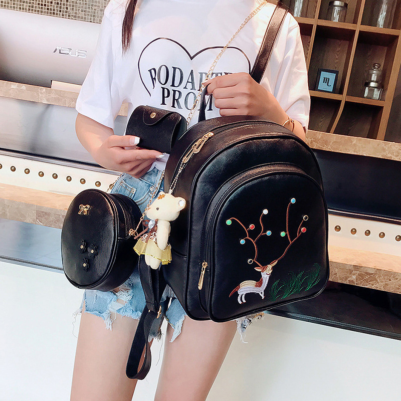 New Style Embroidered Deer Shoulder Bag Female Pu Leather Backpacks Women Students Backpack Three-Piece