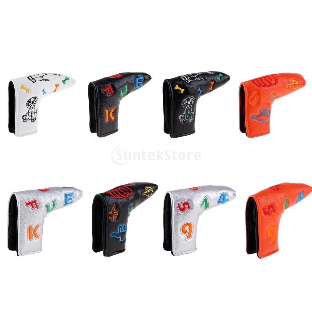 Durable Premium Embroidered PU Leather Golf Putter Head Covers Headcover Universal Fits All Brands Blade