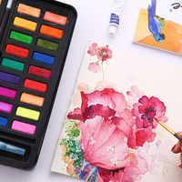 Pinturas de acuarela sólidas profesionales de 12/18/24 colores con pincel pigmento de acuarela sólido portátil para dibujar arte suministros
