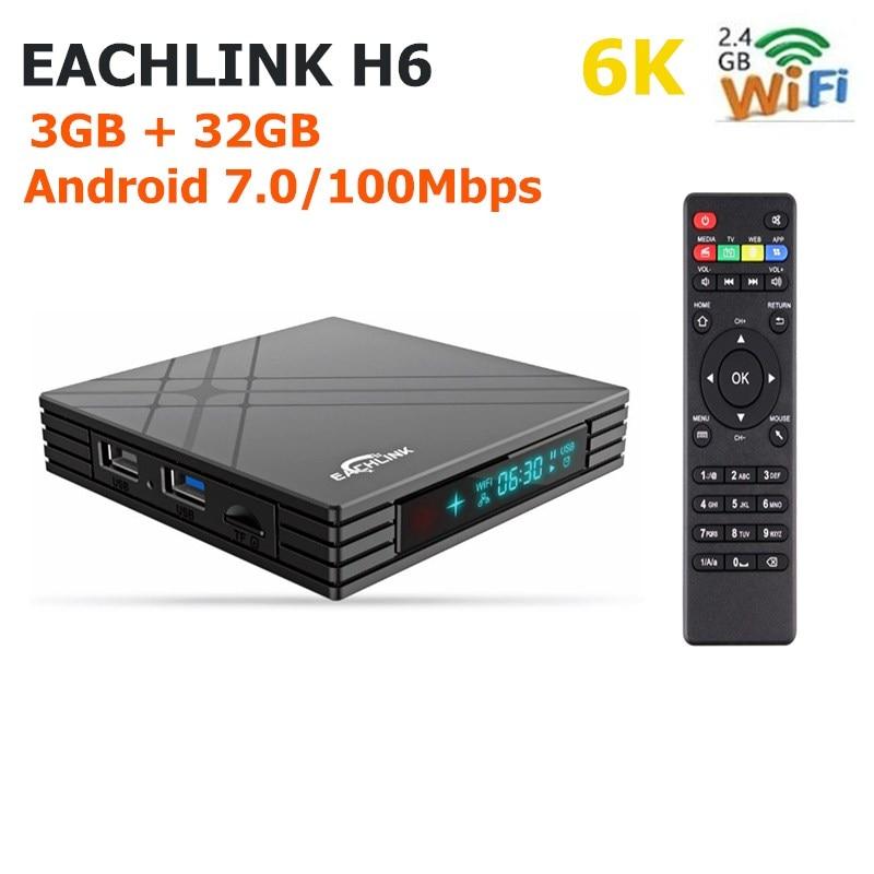 EACHLINK H6 Mini TV Box Allwinner H6 3GB RAM + 32GB ROM 2.4G WiFi 100Mbps USB3.0 BT4.1 Support 6K H.265 Set Top BoxEACHLINK H6 Mini TV Box Allwinner H6 3GB RAM + 32GB ROM 2.4G WiFi 100Mbps USB3.0 BT4.1 Support 6K H.265 Set Top Box
