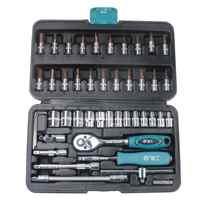 46pcs/set Drive Socket Spanner Wrench Set 1/4 Metric Extension Bar Repair Tools Kit Screwdriver Ratchet Wrench Kit Car Repair