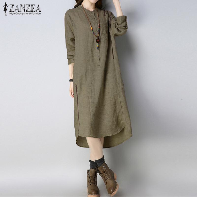 36d2af5e704 Detail Feedback Questions about ZANZEA Oversized Women Button Down Shirt  Dress Vintage Solid Long Sleeve Midi Dress Casual Irregular Hem Vestido  Femme Robe ...