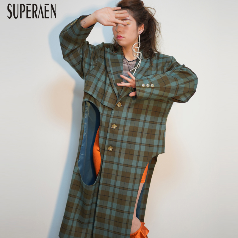 SuperAen New 2019 Spring Trench Coat for Women Cotton Wild Casual Fashion Asymmetrical Lattice Long Windbreaker