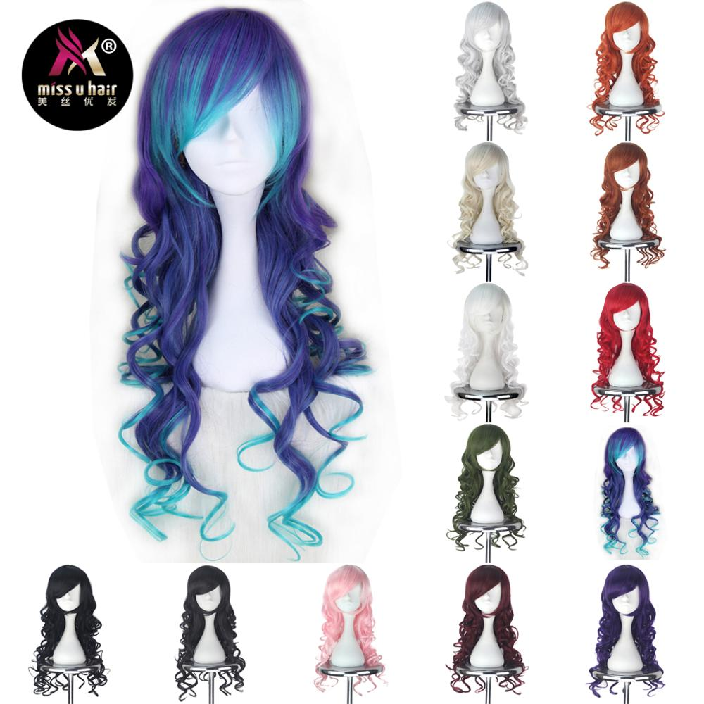Miss U Hair Synthetic Women Curly Blue Purple Red Pink Black White Color Party Cosplay Wig Anti the Holic role play hair