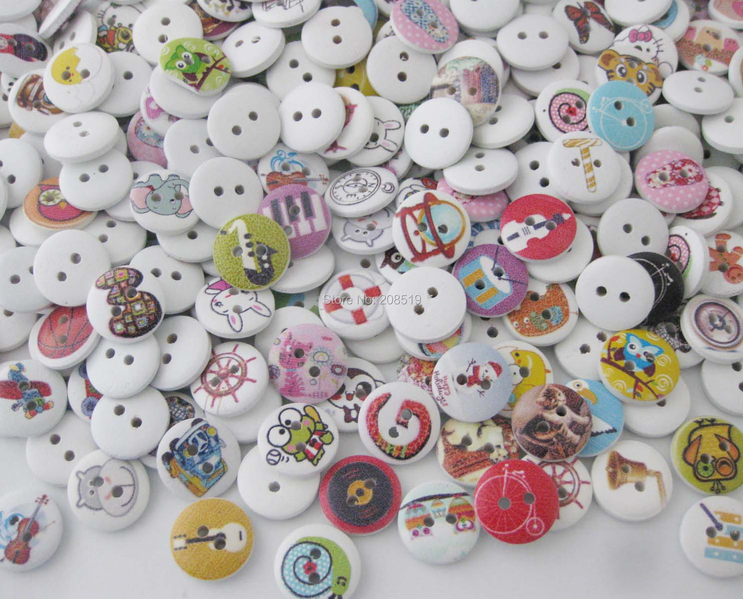 New 100pcs Tree Painting Wood Buttons 20mm Sewing Craft Mix Lots Wholesales