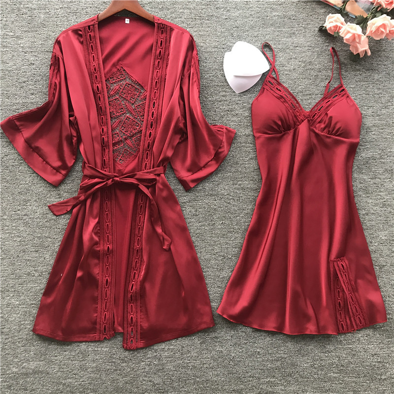 2019 Sleep Lounge Pijamas Bathrobe Women Robe Gown Long Sleeve Ladies Nightwear Sets Sexy Lace Night Dress With Chest Pads