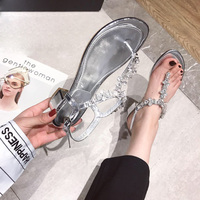 Glitter Rhinestone Jeweled Metal String T strap Thong Toe Sandals Patent Leather Chunky Heels Pure Gem Crystal Sandalias Shoes