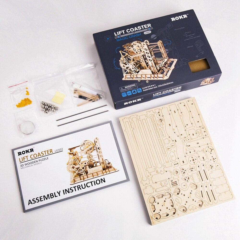 Robotime Drôle Marble Run Jeu Diy Noria Coaster En Bois Modèle Kits de Construction Assemblée Jouet Meilleur De Noël, Cadeau D'anniversaire Pour - 3