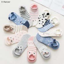 Best Harajuku Cute Animal Cotton Socks Female Kawaii Cat With Dog Summer Short Slippers Women Casual Soft Funny Boat