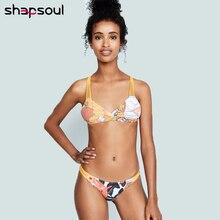 цена на Floral String Bikini Set Women Sexy Thong Bikini Women Swimwear High Wasit Swimsuit Lacing Bathing Suit Summer Beach Bodysuit