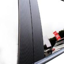 6 pcs 자동차 탄소 섬유 창 b 기둥 외관 몰딩 장식 커버 트림 메르세데스 벤츠 glc 클래스 2015 2016 2017 2018