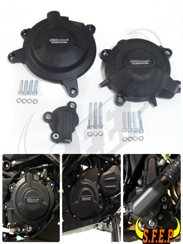 Motorcycle Engine Case Guard Protector Cover GB Racing For Kawasaki Ninja400 Ninja 400 2018 2019 Black