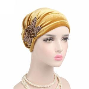 Image 3 - Gorra India musulmana para mujer, gorro de terciopelo para mujer, gorro turbante de quimio con cuentas, sombreros de flores, gorro de cáncer interior elegante