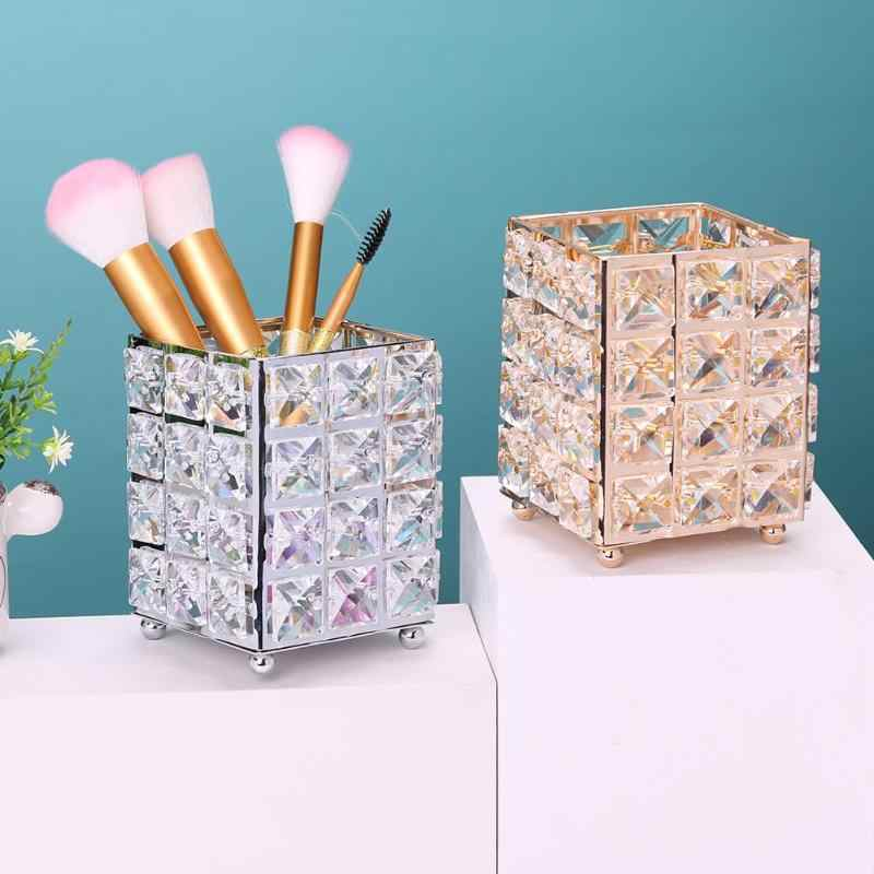 New Fashionable Europe Crystal Metal Makeup Brush Storage Tube Eyebrow Pencil Makeup Organizer Bead Crystal Jewelry Storage Box