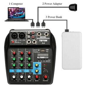 Image 4 - TU04 BT 4 Каналы микшерная консоль запись 48В Мощность монитор AUX Пути Плюс эффекты микшер с USB