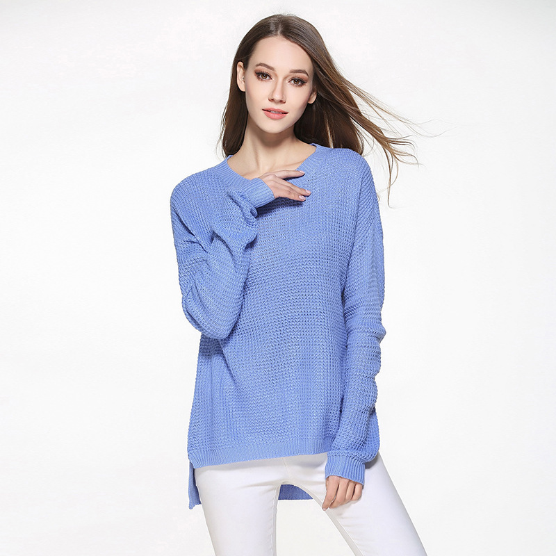 2019 Casual O-Neck Long Sleeves Knitted Sweater Women White Sweater Streetwear Loose Pullover Sweater Winter Sexy Tops