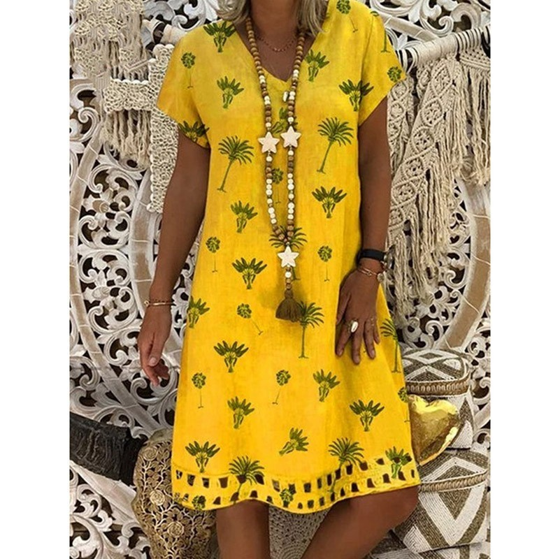 Loose Casual Dress Summer 2019 Women Yellow Floral Midi Dress Plus Size Ladies Shortsleeve A Line Summer Dress Women 3XL 4XL 5XL in Dresses from Women 39 s Clothing