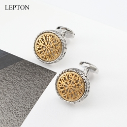 Lepton Gold&Silver Vintage Cufflinks For Mens Drop Ship Baroque Whale Back Closure Cuff links, for Wedding, Business Cufflink