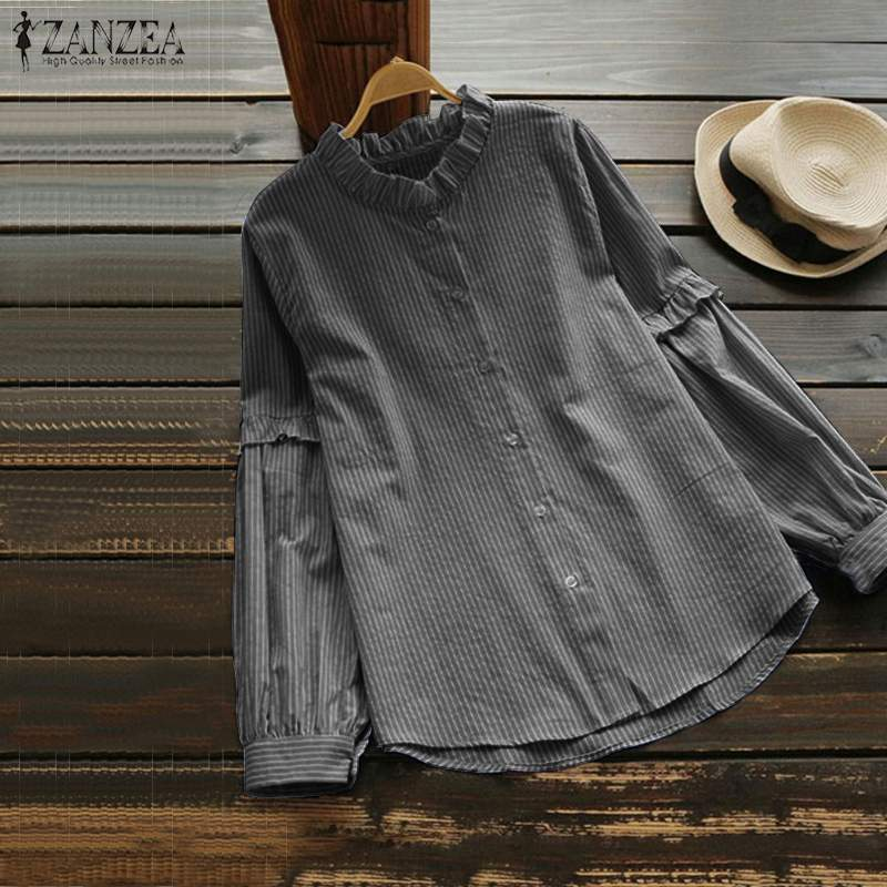ZANZEA Spring Women Vintage Ruffles Blouse Casual Long Sleeve Buttons Dowm Striped Shirt Loose Femme Blusas Robe Top Plus Size