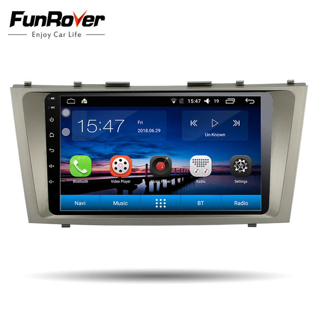 Funrover android 8.0 car dvd gps player for toyota camry 2007 2008 2009 car multimedia player 2 din radio gps navigation 4 core