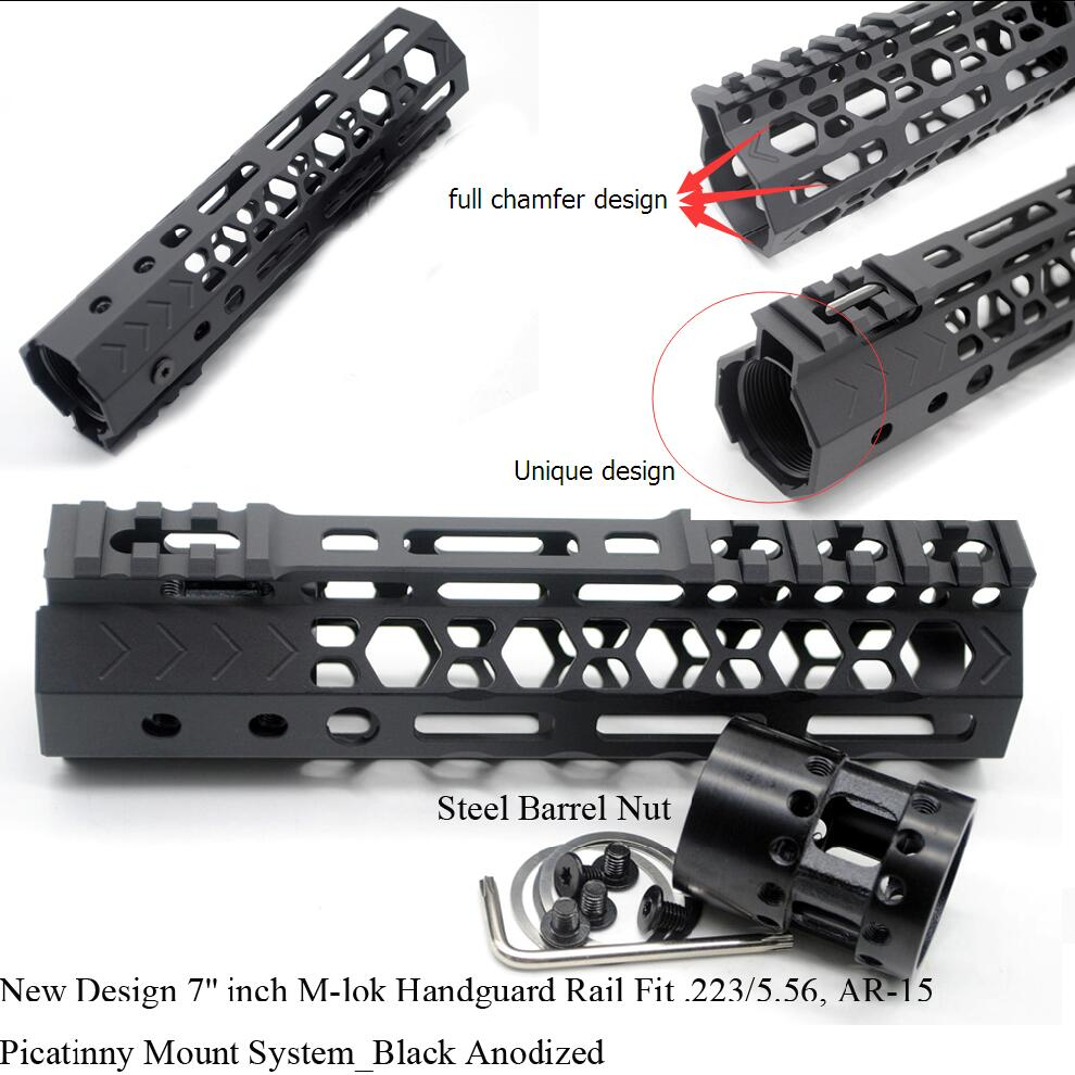 TriRock New Design 7'' inch M-lok Handguard Rail Free Float Picatinny Mount System Fit .223/5.56 AR-15_Black Andoized new lightweight cnc aluminum anodes m lok 13 5 inch handguard rail one picatinny rails system bk